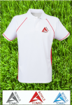 Atomic Bowls Lawn Bowls Performance Polo Shirt Mens Womens Unisex Red & White
